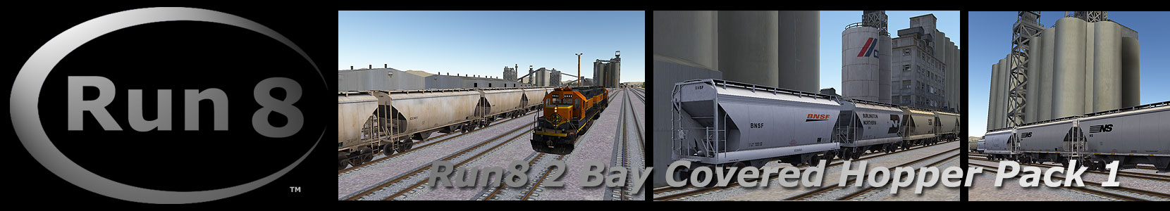 Run8 Train Simulator 2 BAY COVERED HOPPERS PACK 1