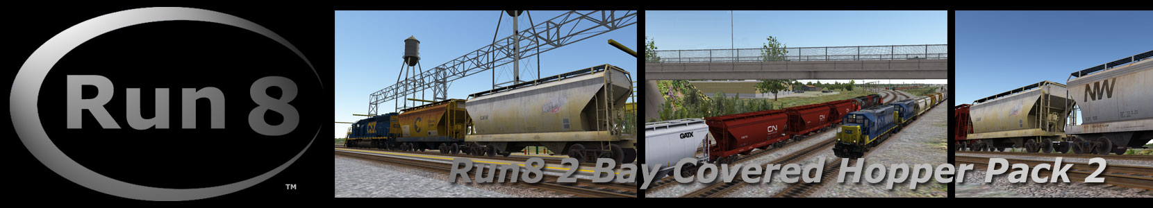 Run8 Train Simulator 2 BAY COVERED HOPPERS PACK 2
